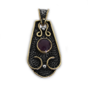 "Sterling Silver w/ Amethyst and Brass ""Saddle"" Pendant (VIC-PN-106) Round"