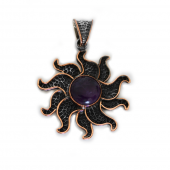 """HPSilver, LLC : Sterling Silver w/ Amethyst and Copper """"Sun"""" Pendant (ANG-PN-105) Flower"""
