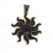 "HPSilver, LLC : Sterling Silver w/ Amethyst and Brass ""Sun"" Pendant (ANG-PN-106) Flower"
