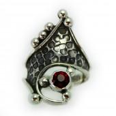 """HPSilver: Garnet w/ Sterling Silver """"Crown"""" Ring (elf-rg-011)"""