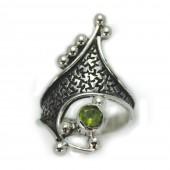 """HPSilver: Peridot w/ Sterling Silver """"Crown"""" Ring (elf-rg-013)"""