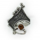 "HPSilver: Citrine w/ Sterling Silver ""Crown"" Ring (elf-rg-014)"