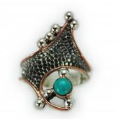 "HPSilver: Kingman Turquoise w/ Sterling Silver ""Crown"" Ring (elf-rg-017)"