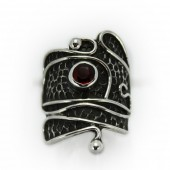 "HPSilver: Garnet w/ Sterling Silver ""Palette"" Ring (elf-rg-021)"