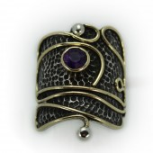"HPSilver: Amethys w/ Sterling Silver & Brass Accent ""Palette"" Ring (elf-rg-028)"