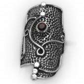 "HPSilver: Garnet w/ Sterling Silver ""Shield"" Ring (elf-rg-030)"