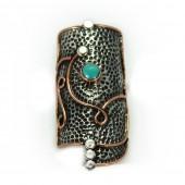 "HPSilver: Kingman Turquoise w/ Sterling Silver ""Shield"" Ring (elf-rg-035)"