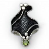"HPSilver: Peridot w/ Sterling Silver ""Dragon"" Ring (elf-rg-036)"