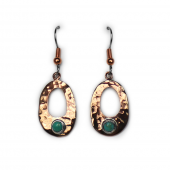 Copper and Turquoise Earrings Oval