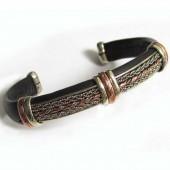 HPSilver, LLC : Unique Leather Bracelet (ulb-br-102) Black w/ Copper