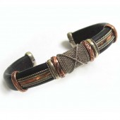 HPSilver, LLC : Unique Leather Bracelet (ulb-br-104) Black w/ Copper