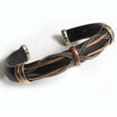 HPSilver, LLC : Unique Leather Bracelet (ulb-br-106) Black w/ Copper