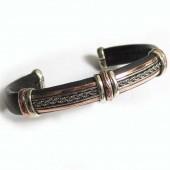 HPSilver, LLC : Unique Leather Bracelet (ulb-br-107) Black w/ Copper