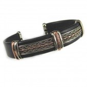 HPSilver, LLC : Unique Leather Bracelet (ULB-BR-202) Large Black w/ Copper