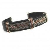 HPSilver, LLC : Unique Leather Bracelet (ULB-BR-205) Large Black w/ Copper