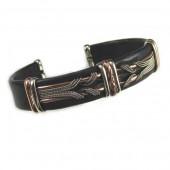 HPSilver, LLC : Unique Leather Bracelet (ULB-BR-209) Large Black w/ Copper