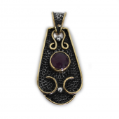 """HPSilver, LLC : Sterling Silver w/ Amethyst and Brass """"Saddle"""" Pendant (VIC-PN-106) Round"""