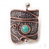 "HPSilver: Kingman Turquoise w/ Sterling Silver ""Palette"" Ring (elf-rg-029)"
